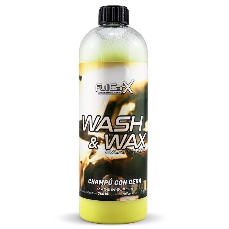 WASH & WAX (SHAMPOING AVEC CIRE) 750ML  Shampooing de qualité supérieure avec cire SAS La Boutique JPLVAD FullCarX